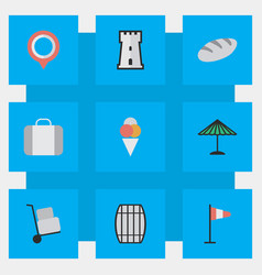 Set of simple holiday icons elements cargo bag vector