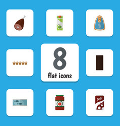 Flat icon eating set of eggshell box fizzy drink vector