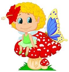 Baby fairy elf cartoon sitting on mushroom vector