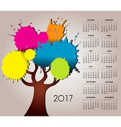 2017 splat tree calendar vector