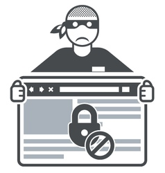 Secure website - internet swindler or hacker vector image