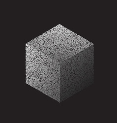 3d cube made with dots vector