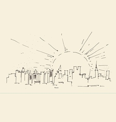 sunrise in New York city architecture vintage vector image