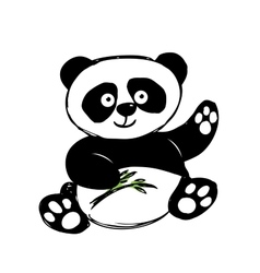 Little cute panda isolated on white vector