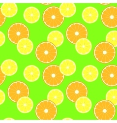 Pattern with slice citruses - lemon and orange vector