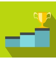 Pedestal and winner cup icon flat style vector image