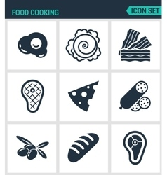 Set of modern icons food cooking egg vector