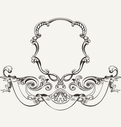 Antique luxury high ornate frame and banner vector