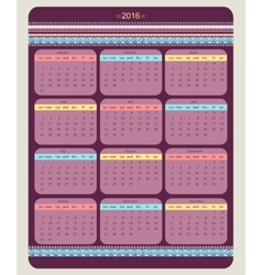 Calendar 2016 starting from sunday vector image