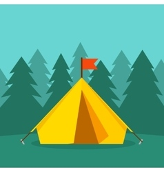 Camping tourist tent on forest landscape vector image