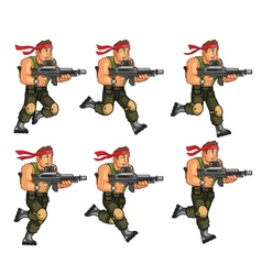 Commando running game sprite vector