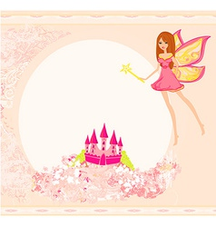 Fairy with magic wand flying above castle vector