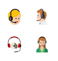 flat hotline set of telemarketing secretary vector image