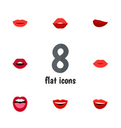 Flat icon lips set of lipstick teeth smile and vector