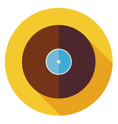 Flat Music Vinyl Record Disc Circle Icon with Long vector image vector image