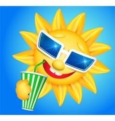 Fun sun drinking vector