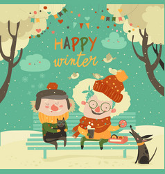 Funny grandmother and grandfather sitting with cat vector