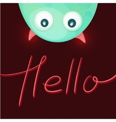 Funny monster saying Hello vector image vector image