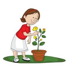 Girl picking up flower vector