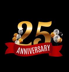 golden 25 years anniversary template with red vector image