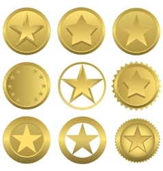 Golden stars set vector image
