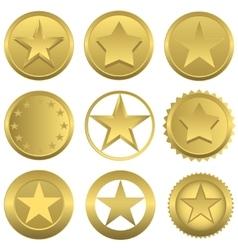 Golden stars set vector