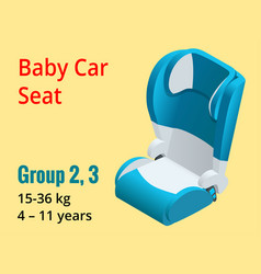 Isometric baby car seat group 23 vector