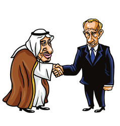 King salman and vladimir putin cartoon vector