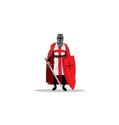 Knight sign Crusader helmet with sword and shield vector image