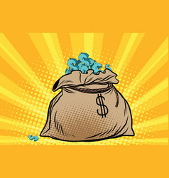 Large bag of american dollars vector