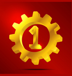 number 1 golden gear vector image vector image