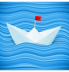 paper boat in blue waves of sea vector image