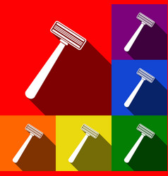 Safety razor sign set of icons with flat vector