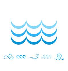 sea wave blue icons or water liquid symbols vector image