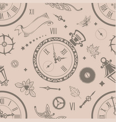 seamless patterns clock vector image