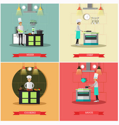 Set of kitchen posters banners in flat vector