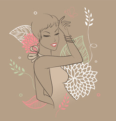 smile woman floral vector image
