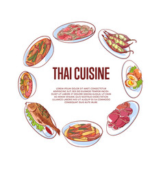 Thai cuisine poster with asian dishes vector