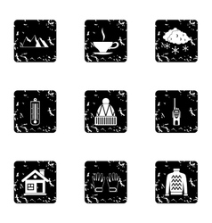 Vacation in mountains icons set grunge style vector image vector image