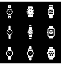white wristwatch icon set vector image