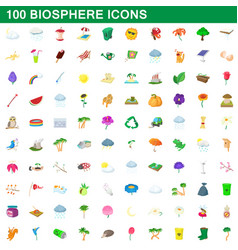 100 biosphere icons set cartoon style vector image