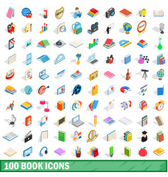 100 book icons set isometric 3d style vector