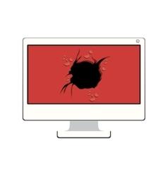 Tech desktop with broken screen vector