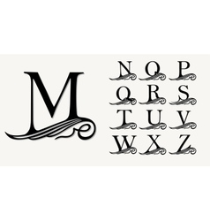 Vintage set 2 calligraphic capital letters with vector