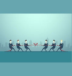 businesspeople group two team pulling rope vector image