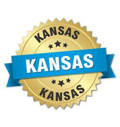 Kansas round golden badge with blue ribbon vector
