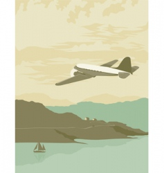 Airplane over bay poster vector