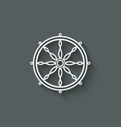 Dharma wheel design element vector