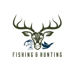 Vintage hunting and fishing design template vector