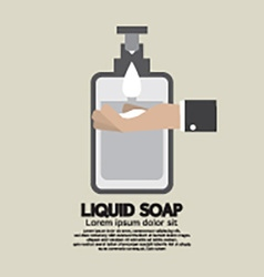 Hand with liquid soap vector